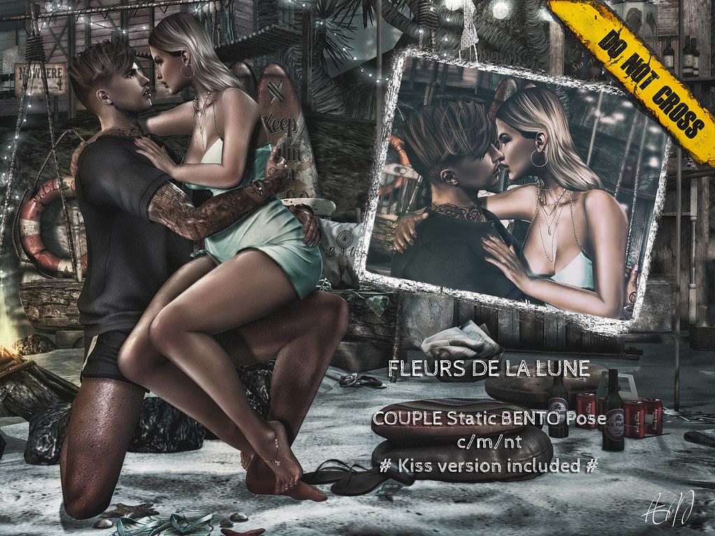 -DNC- Fleurs De La Lune - Couple Bento Pose  # Kiss version included # - TeleportHub.com Live!