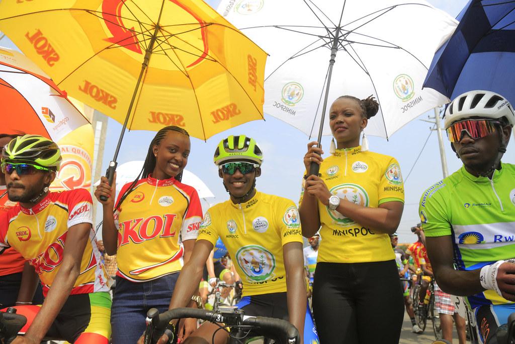 Yellow jersey holder Samuel Mugisha before the race