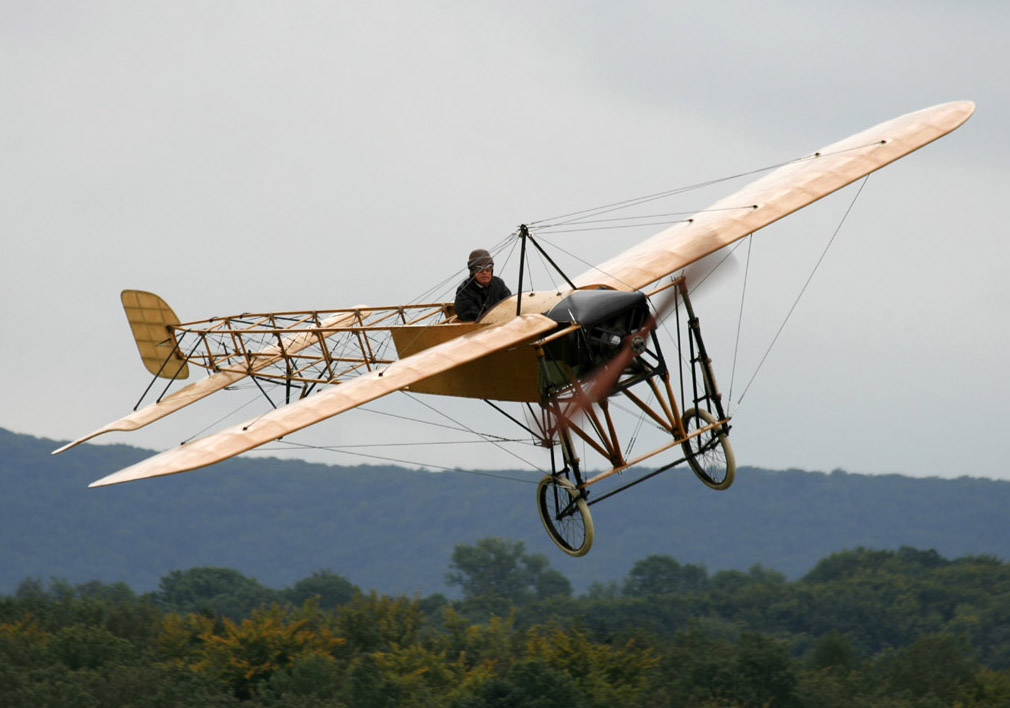 Mikael Carlson owns and flies two of these Blériot XI's, orginally built by AETA - AB Enoch Thulins Aeroplanfabrik - under the name Thulin A. The first one was found by Mikael in a barn in the late 80's, disassembled but complete. Mikael restored it to flying condition, took off for the first time in 1991 and have been flying it regularly every year since then. This plane has not only participated in a number of air displays and film productions all over the world but it is also the plane in which Mikael recreated the crossing of the English Channel in 1999, exactly 90 years after Louis Bleriot. Photo taken on September 8, 2007.