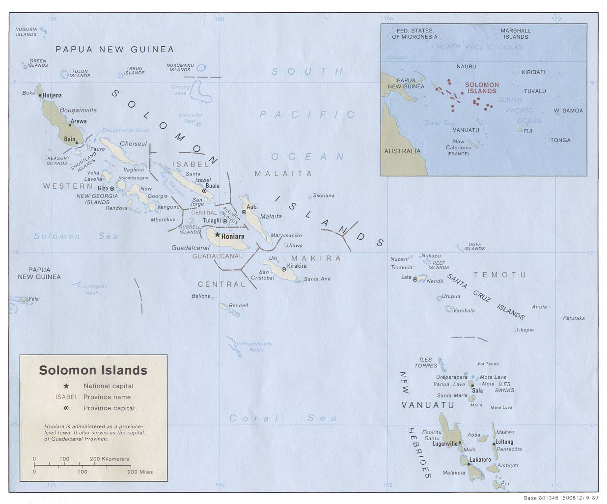 Map of the Solomon Islands