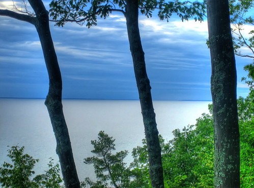 ocean sea sky cloud lake tree water silhouette view flat michigan horizon calm lakemichigan almost hdr