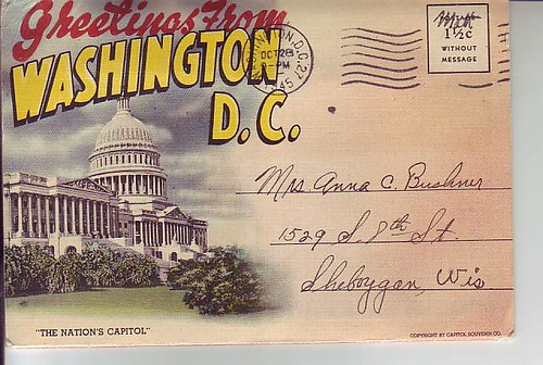 Greetings from Washington, DC 1945 Postcard Folder Linen Vintage (item 230017469602