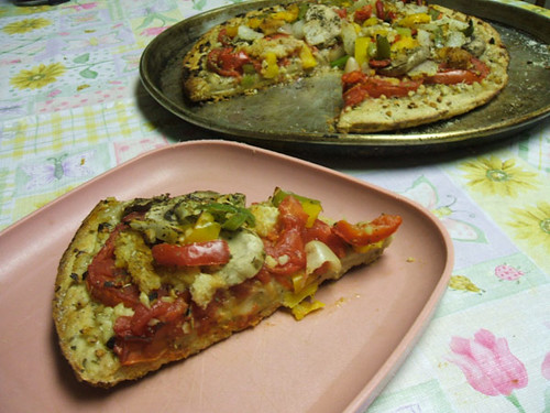 Veggie pizza slice