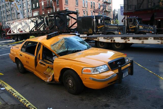 4 ton crane section lands on cab