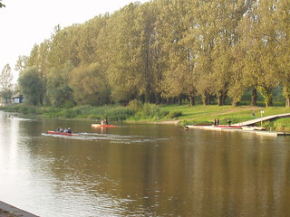 Crew boats on the river in Tartu