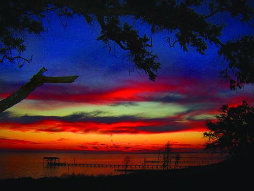 blue sunset fall water mississippi coast pier exterior dusk oceansprings pointeauxchene
