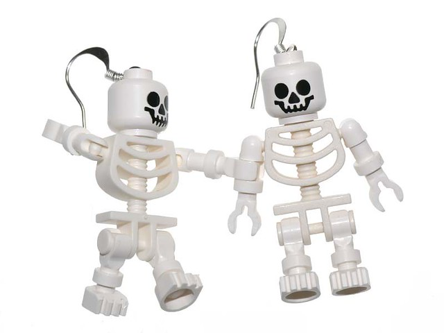 Lego skeleton earrings