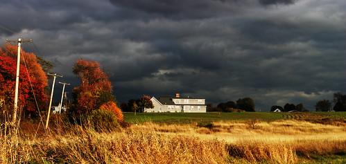 storm fall clouds dark dusk