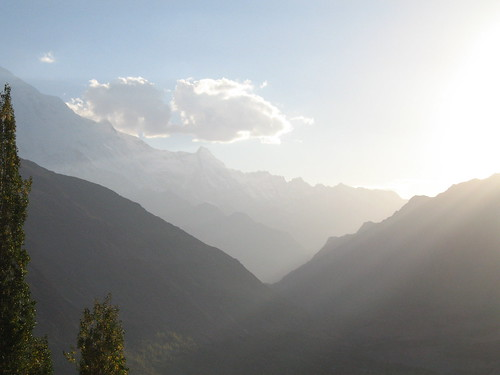 Sundown from the terrace of the Eagle's Nest hotel overlooking Karimabad