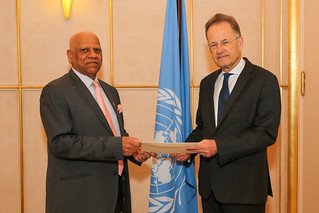 NEW PERMANENT OBSERVER OF THE LEAGUE OF ARAB STATES PRESENTS LETTER OF NOMINATION TO THE DIRECTOR-GENERAL OF THE UNITED NATIONS OFFICE AT GENEVA