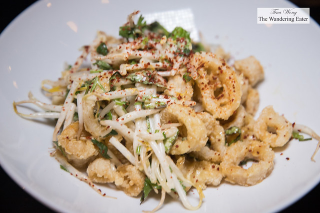 Rice Dusted Point Judith Calamari - Ttai miso sauce, mung bean sprouts, aleppo chile
