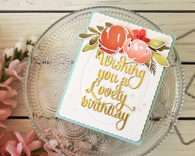 LizzieJones_PapertreyInk_August2018_SayItSimply_ScallopStackers_WatercolorFloralLovelyBirthdayCard