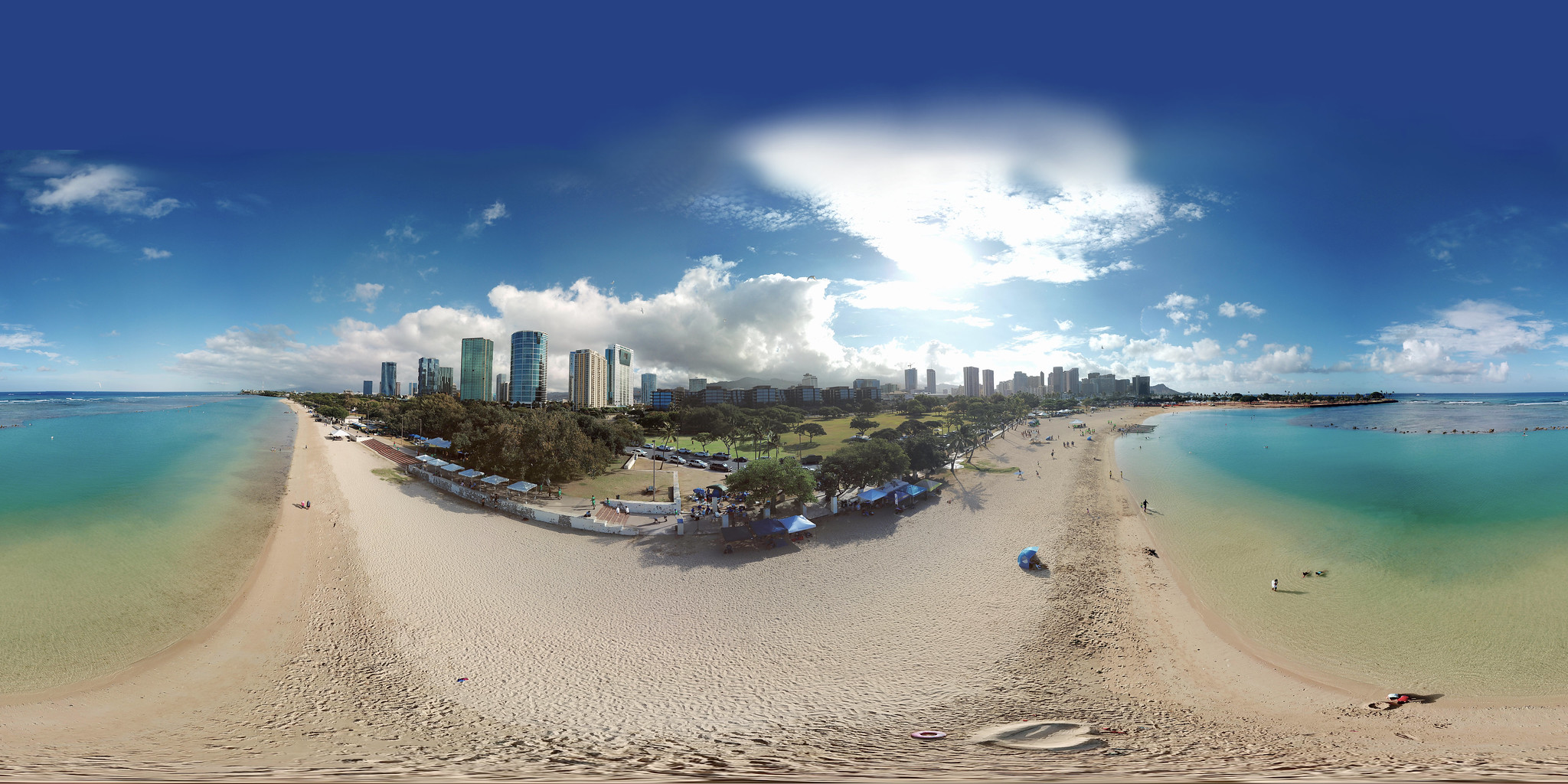 The Dragonboat Festival 2018 at Ala Moana Beach in Honolulu from 50 feet - an aerial 360° Equirectangular VR