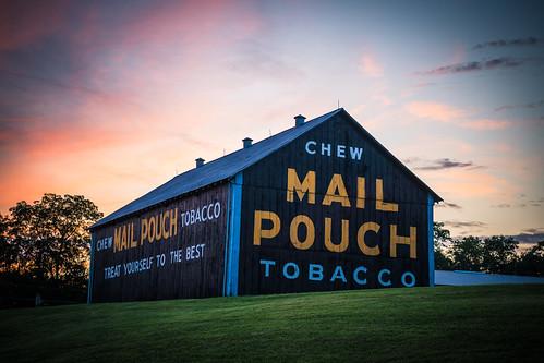 ohio barn chewmailpouchtobacco dusk signage sunset tobaccoadvertisement