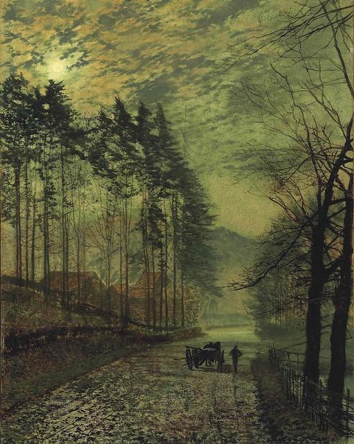 John Atkinson Grimshaw - Near Hackness, a Moonlit Scene with Pine Trees [1875]