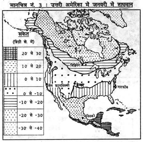 उत्तरी अमेरिका में जनवरी में तापमान