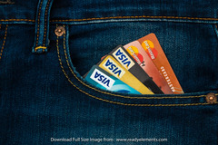 Blue cloth jeans with credit card in front pocket