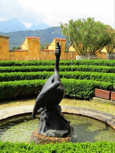 swan fountain in garden of Hohenschwangau Castle