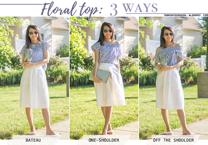 3 ways to wear a floral top: bateau, one-shoulder, off the shoulder