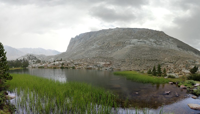 Timberline Lake on the John Muir Trail as the rain lets up