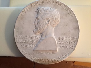 plaster of Fraser's Medal of Honor with Augustus Saint Gaudens