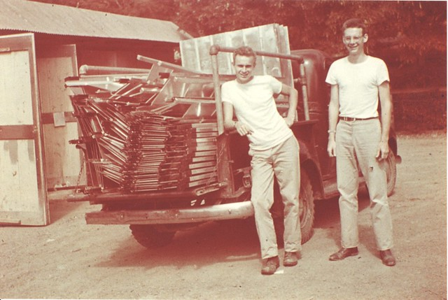 CGP38--Clayton and George Potter with load of aluminum privies