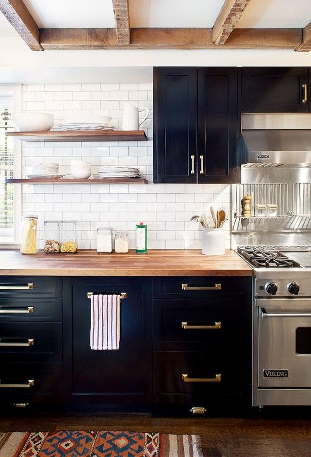 Stylish Rustic Kitchen Decor Open Shelves Ideas Butcher Block Countertop Black Kitchen Cabinets