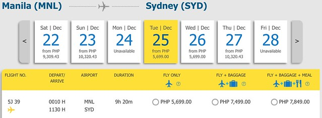 Cebu Pacific Pay Day Fly Day Sale Manila to Sydney