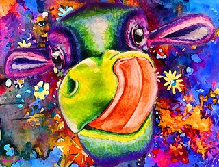 trippy cow by naomian
