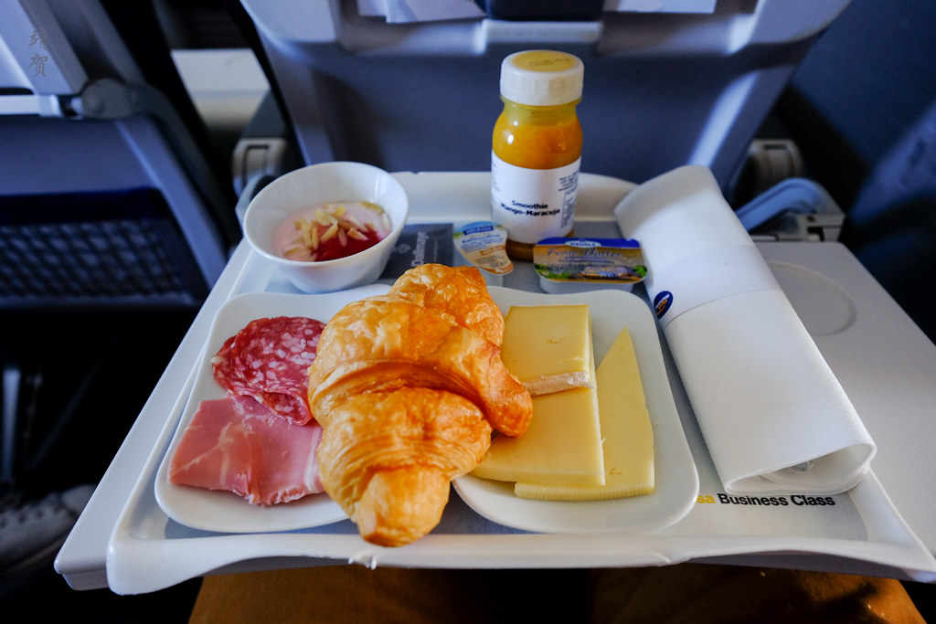 Croissant and cheese plate