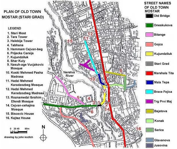 Карта Мостара с достопримечательностями и улицами