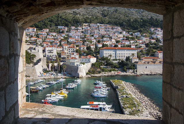 Modern Dubrovnik through the castles window
