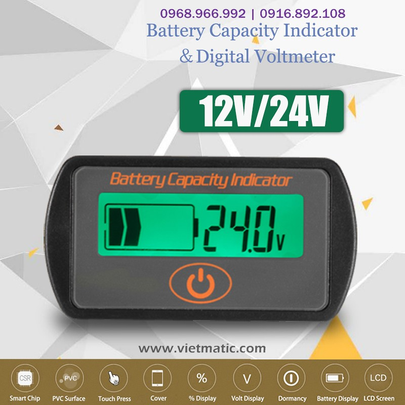 Báo % điện bình 12V/ 24V
