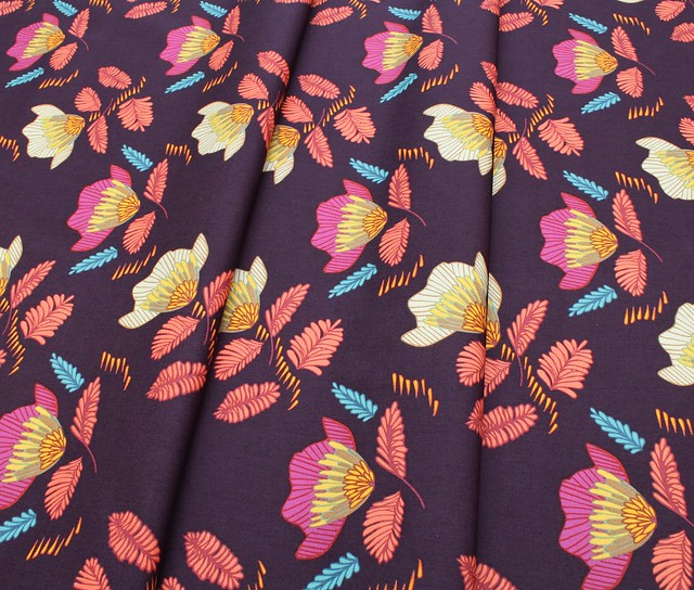 Art Gallery Fabrics Autumn Vibes Pressed Ablossom Royal