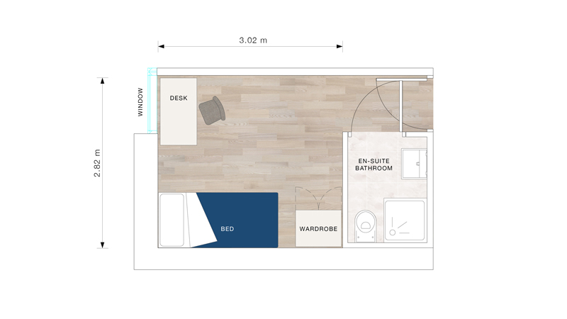 A bedroom floor plan for Marlborough Court