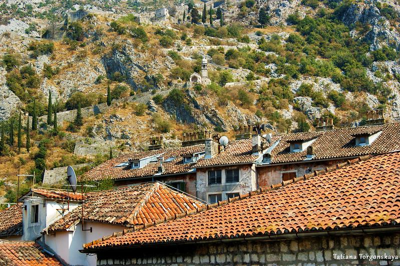 Крыши Котора на фоне гор. Вид с городской крепостной стены