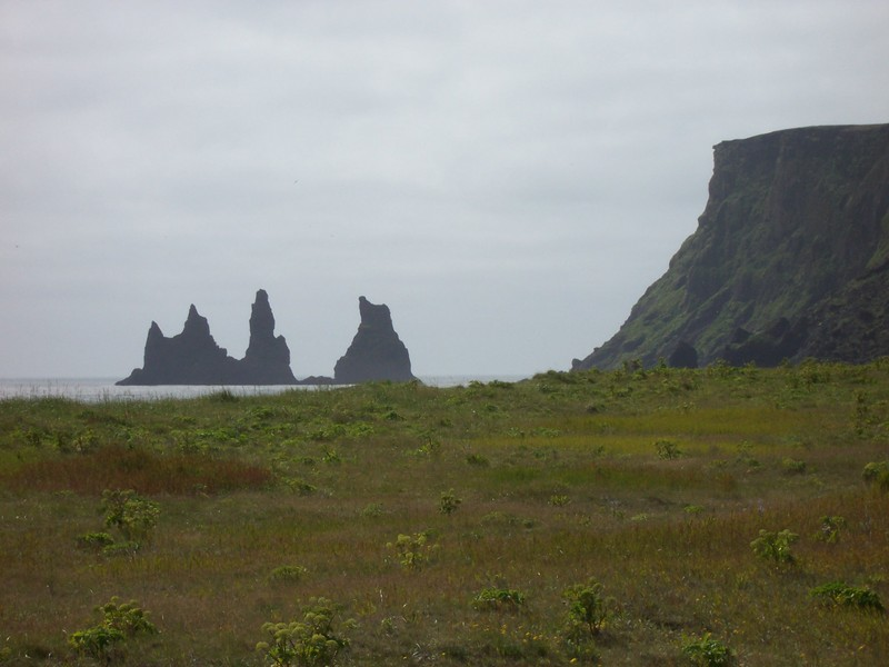 Rocky columns in the water off Vik, Iceland. Photo taken on March 2, 2003.