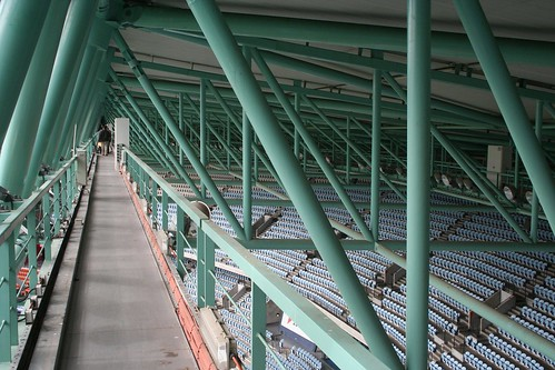 Looking down on the seats from the southern section of the overhead catwalk