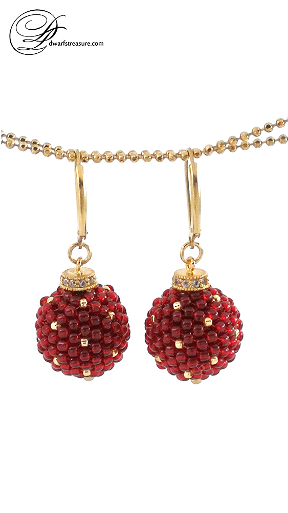 rich red and gold polka dot beaded ball earrings
