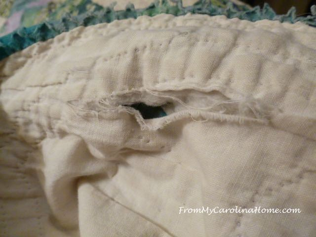 Severly Damaged Quilt Repair at From My Carolina Home