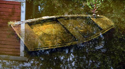 Sunken boat in Steveston, Canada