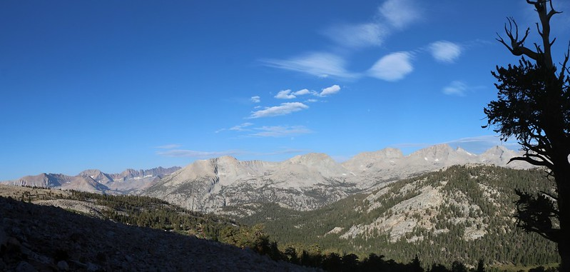 Panorama west into Sequoia Park, with the Kaweah's on the left and Kern Ridge, center, from the JMT