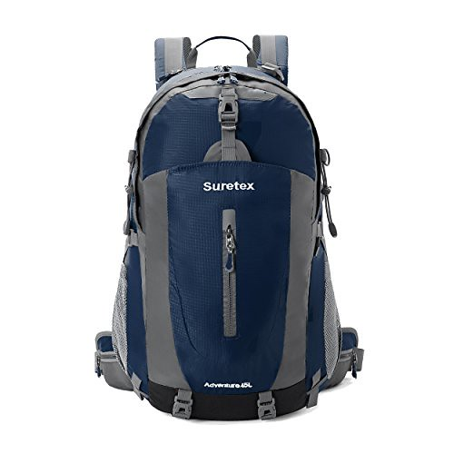 Cheap Suretex 35 L-45 L Outdoor Sports Backpack Shoulder Belt Causal Daypack For Biking Cycling Traveling Camping Hiking (Navy blue, 45 L)