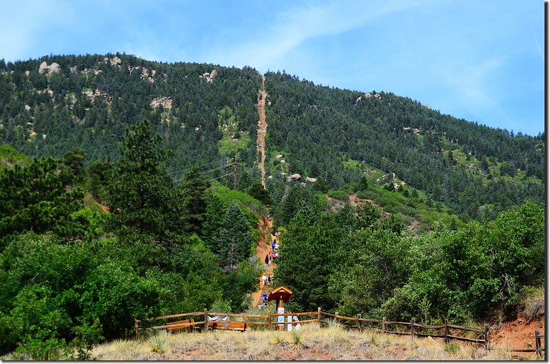 View of the Manitou Springs incline from the trailhead