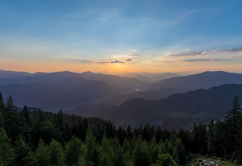 Summer Sunset over the Mountains