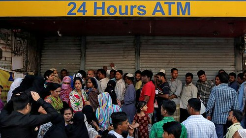 India banknote ATM crowd