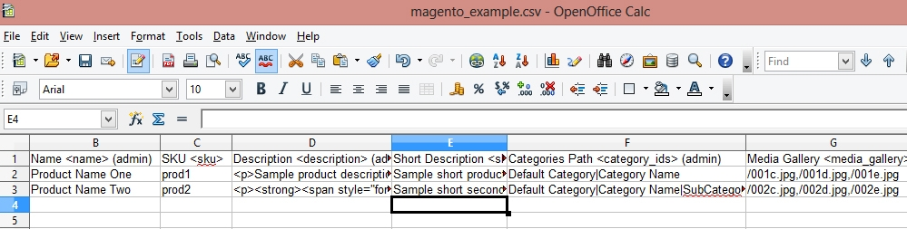How to create .CSV file for products import