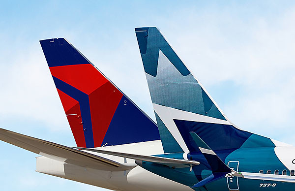 Delta WestJet tails (Delta)