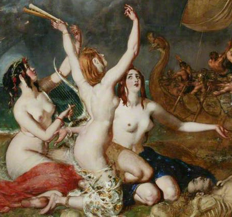 Detail from The Sirens and Ulysses by William Etty (1837). The Sirens are similar in appearance, and the painting probably depicts the same model in three different poses.
