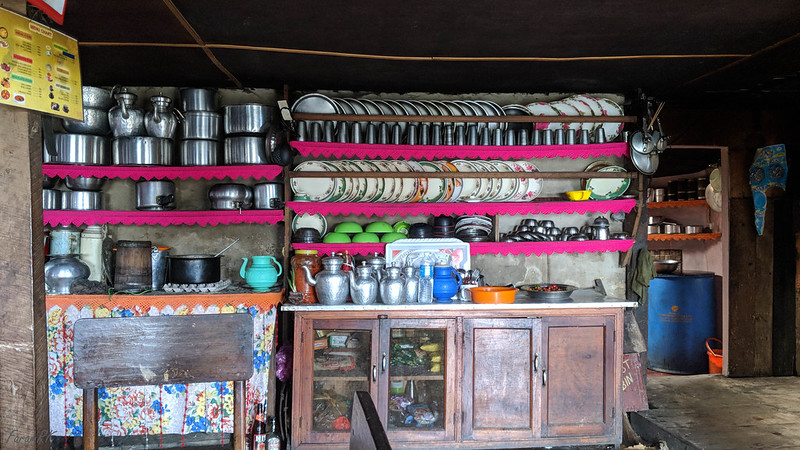 Inside Tonglu Trekkers Hut kitchen